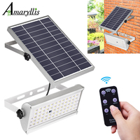 Luces solares de 1500lm para exteriores, lámpara impermeable de jardín, 65 LED, dos modos de trabajo con Control remoto, Sensor de movimiento