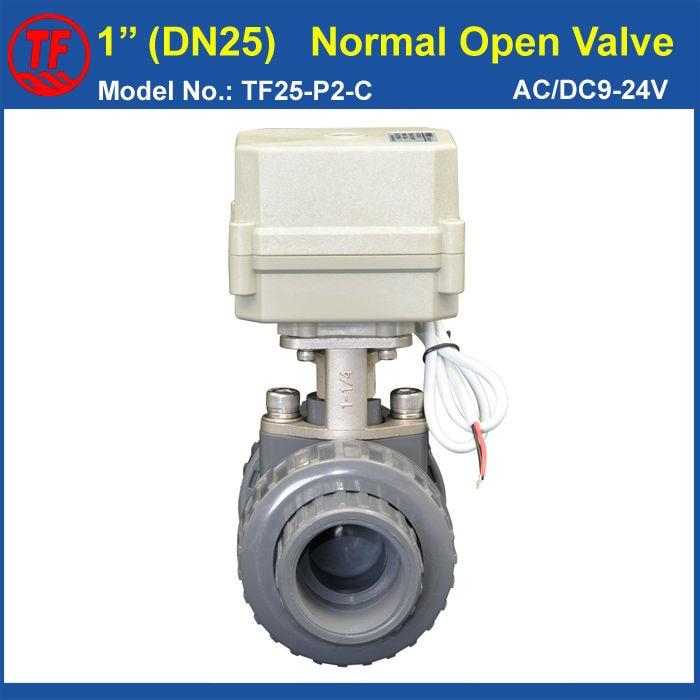ФОТО CE 1'' UPVC DN25 Electric Normal Open Valve TF25-P2-C AC/DC9-24V 2 Wires BSP or NPT Thread 10NM On/Off 15 Sec Metal Gear