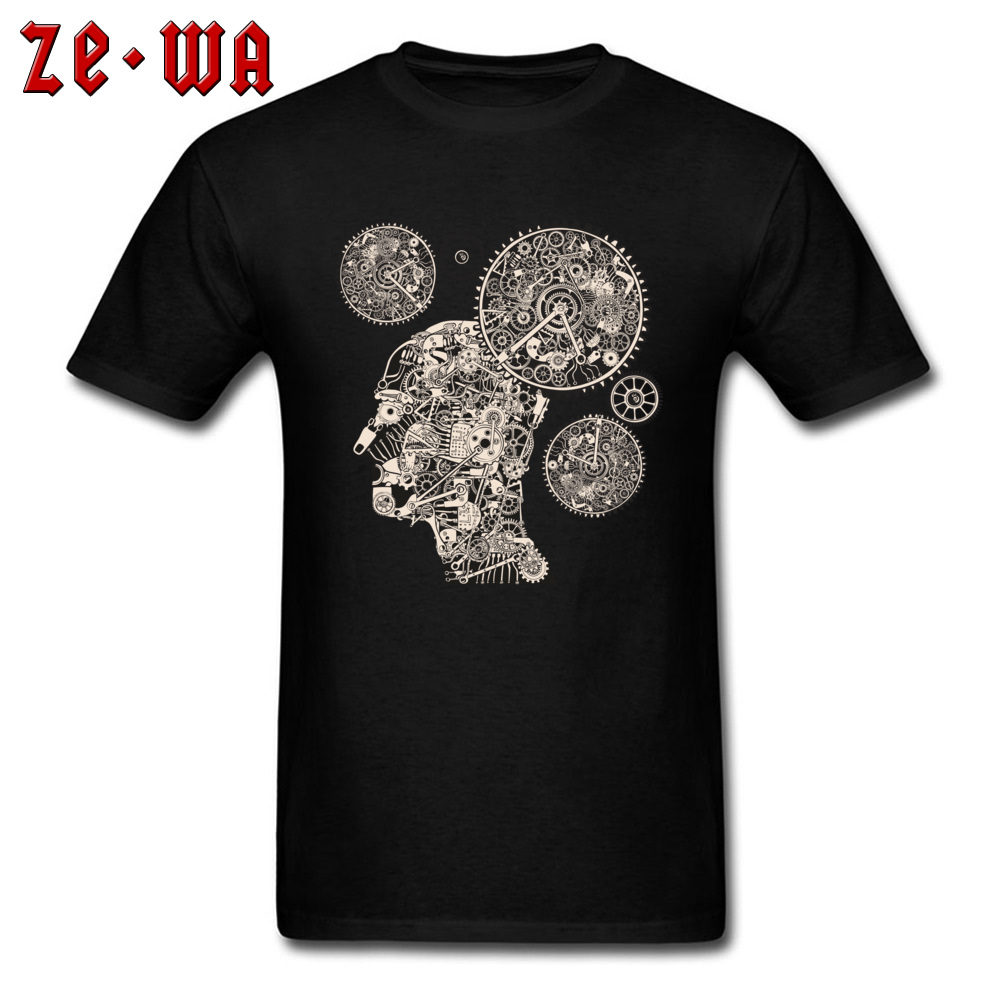 Creative T Shirt Clock Machine Gear Mechanism Pattern Short Sleeve Mens Tshirt 100% Cotton Crew Neck Men Tops T-Shirt Black