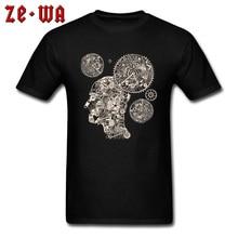 Creative T Shirt Clock Machine Gear Mechanism Pattern Short Sleeve Men's Tshirt 100% Cotton Crew Neck Men Tops T-Shirt Black цена и фото