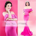 Photography Props Elastic Pink Maternity Fishtail Long Dress Photo Shoot Baby Shower Gift Studio Clothing