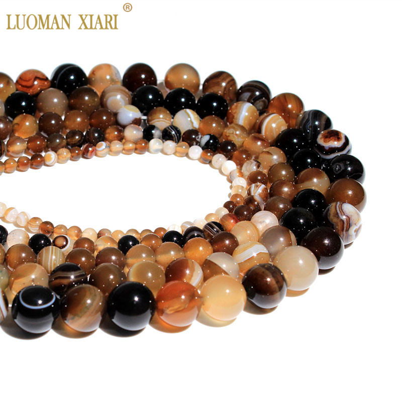 Grosir Natural Coffee Striped Agat Brown Batu Alam Beads Crystal Beads untuk membuat perhiasan 4mm 6mm 8mm 10mm 12mm Strand