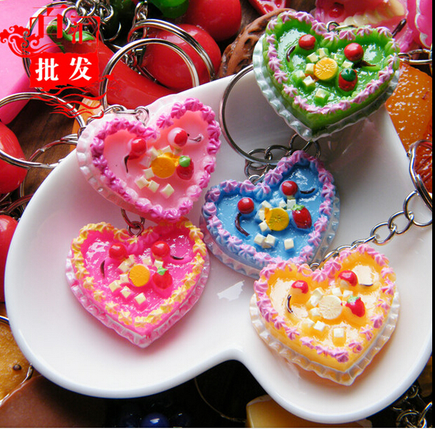 MINI 28X5CM Heart Shape Birthday Cake Key Ring Cherries Candle Diy Keychains Finder