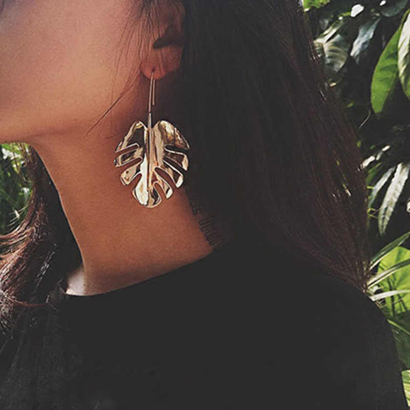 GIVVLLRY Vintage Leaf Drop Earrings for Women Elegant Geometric Gold Color Metal Monstera Leaf Statement Earings Fashion Jewelry