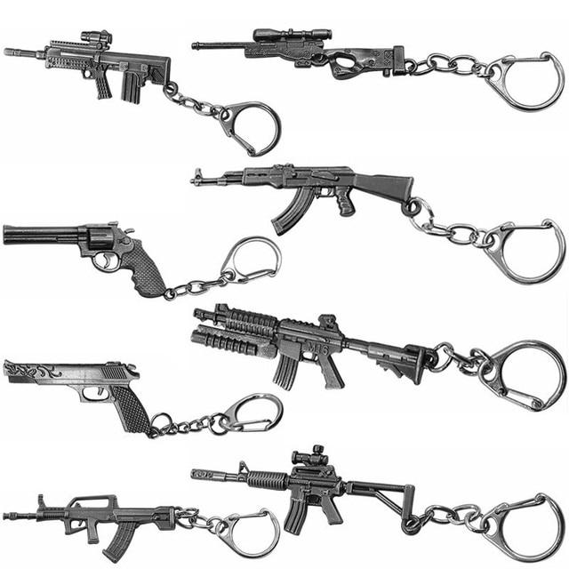 3D Simulation Gun Pendant Keychain Cool Men Metal Weapon Model AK47 M16 M4A1 AWM Revolver Guns Key Ring For Car Holder Chaveiro