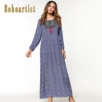 Bohoartist Apparel Long Dresses Women O Neck Floral Lace Up Print A Line Summer Long Sleeve
