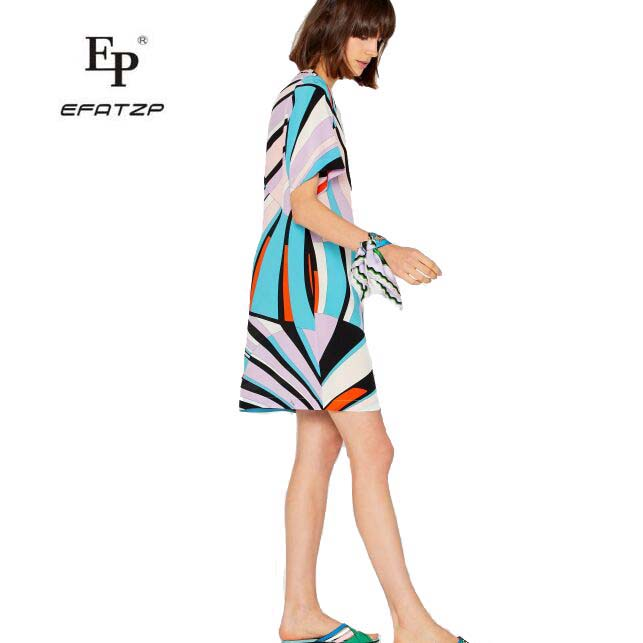 EFATZP Fashion bright colored and beautiful Short sleeve elastic knitted slim silk jersey dress new