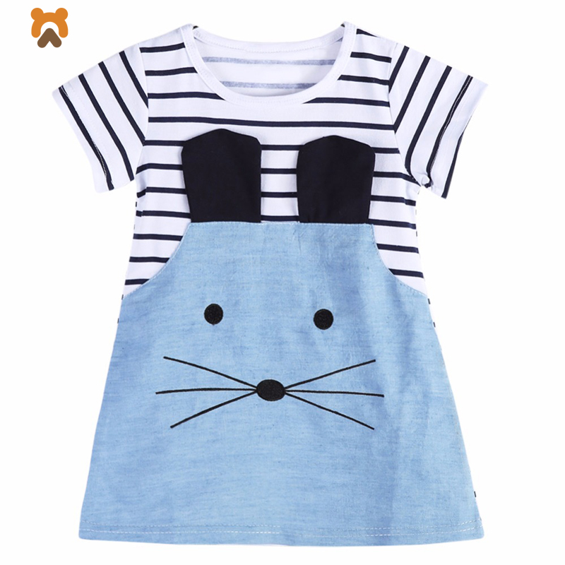 2018 Princess Girls Dress Summer Cotton Short Sleeve Cute Baby Girl Summer Dress Striped Casual Children Kids Dresses For Girls lovely toddler kids baby girl summer dress bunny ear short sleeve hooded outfit one pieces princess children dresses sundress