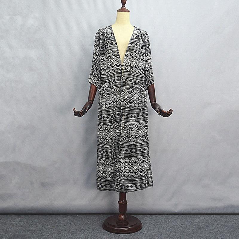 504c806664 Bezpłatne Shiping 2017 Nowy Kobiety Moda W Stylu Vintage Długi Lato Maxi  Sukienki Damskie Wykopu Szyfonowa Geometryczna Plus Rozmiar Loose Otwórz  Stitch