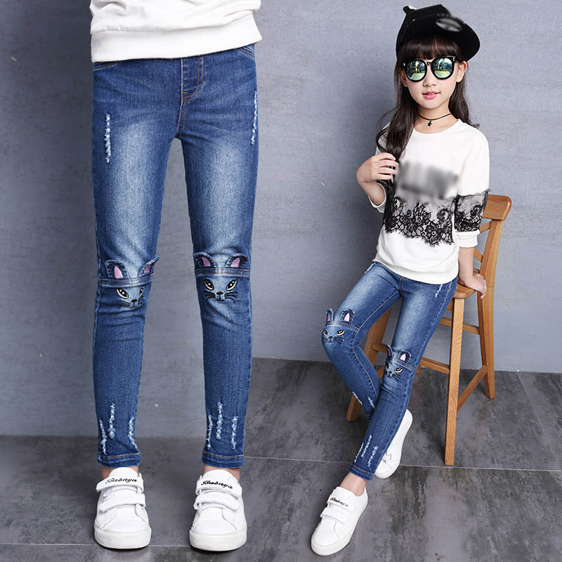 цена на Girls Jeans Hole Lovely Cat Kids Pants Casual Slim Thick Velvet Trousers Children Clothes Brand 2-15 Year Plus Size Denim Pants