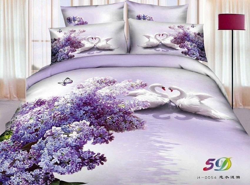 3d Fleur Et Papillon Rose Et Bleu Ensemble De Literie Queen Size