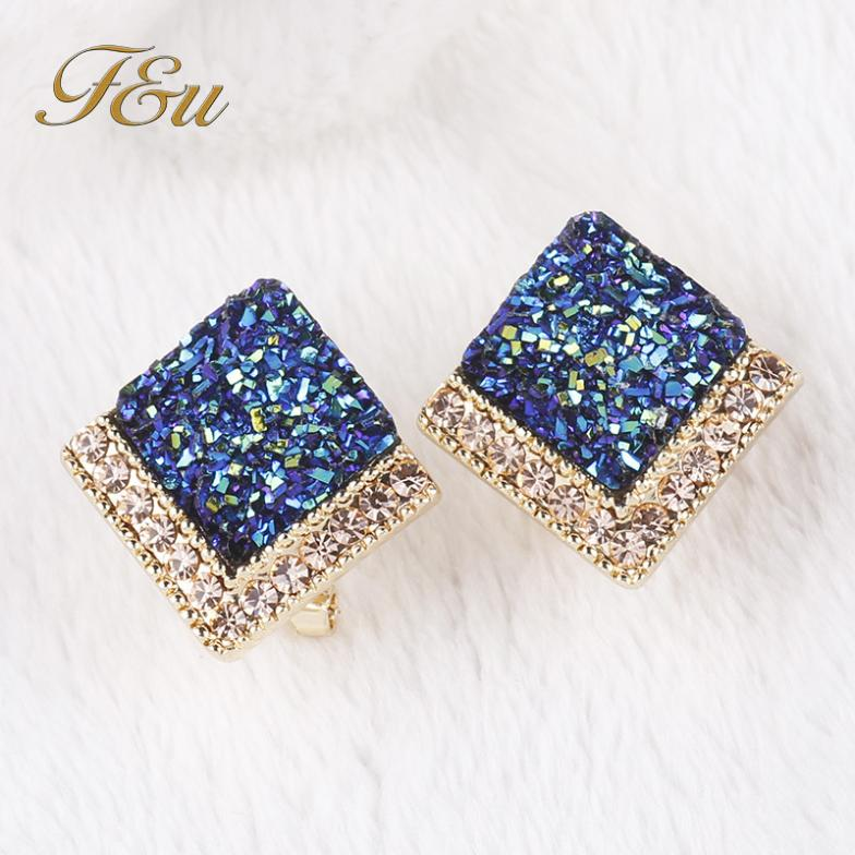 E173 luxo casamento quadrado azul brincos parafuso prisioneiro preenchido pequeno strass elegante brincos para meninas #534