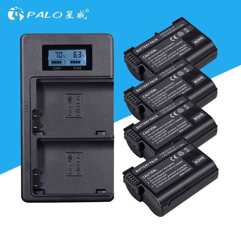 4 piezas 2500 mAh EN-EL15 ENEL15 EL15 batería + LCD USB cargador Dual para Nikon D500... D600... d610... D750... D7000... D7100... D7200... D800... D800E... D810...