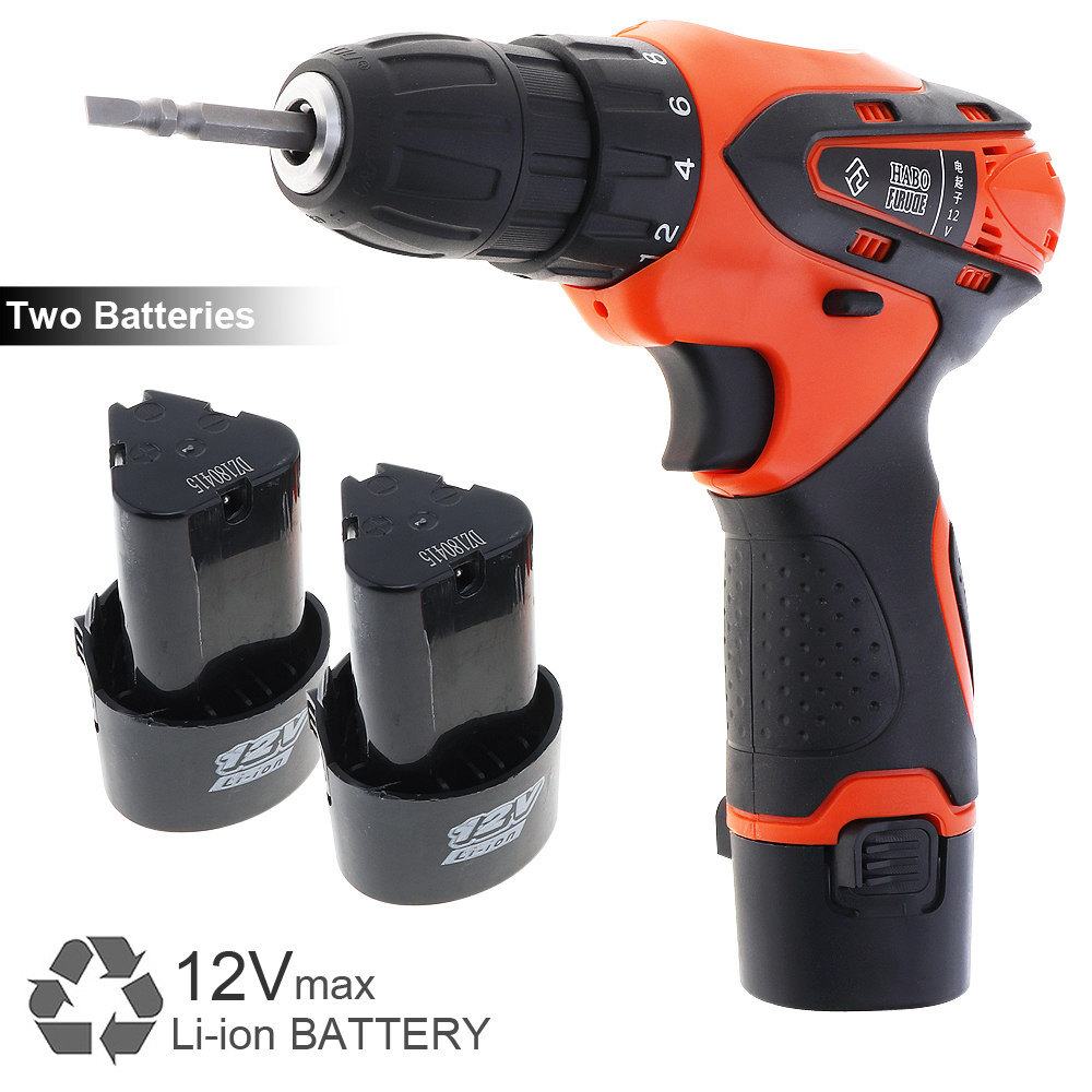 цена на AC 100 - 240V Cordless 12V Electric Screwdriver / Drill with Rotation Adjustment Switch for Handling Screws / Punching