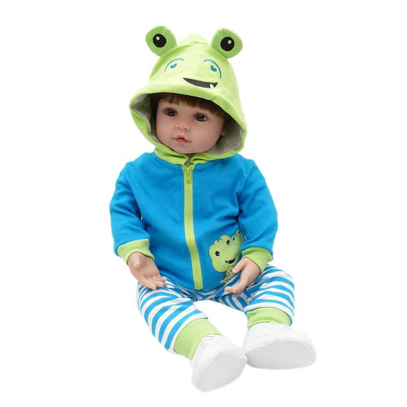 57cm NPK Simulation Frog Boy Reborn Baby Doll Silicone Alive Lifelike Real Dolls Kids Sleeping Playmate Lovely Toys Gifts lovely simulation reborn baby doll kids sleeping playmate accompany silicone toys lifelike children high quality toys gift