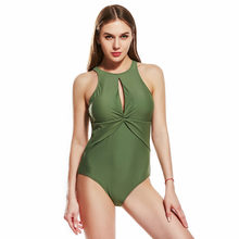 Solid color one-piece swimwear black green dark blue women's large size halter sexy silm all-in-one female swimsuit(China)