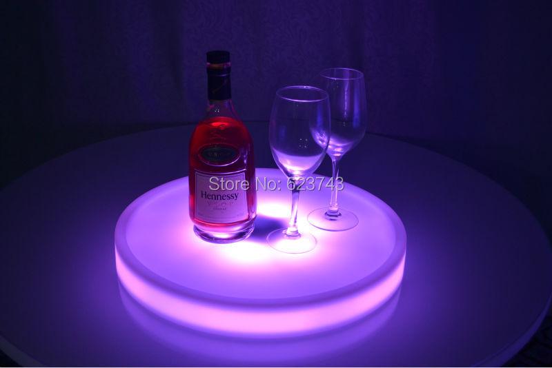 Livraison gratuite lumière LED waterproof Up plateau de service Multi couleurs Rechargeable LED lumineuse plateaux lumière + 24 touches télécommande