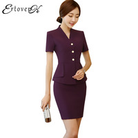 Summer Women Jackets Short Sleeved Tops Mini Skirt Two Piece Suit Business Attire Large Size Coats
