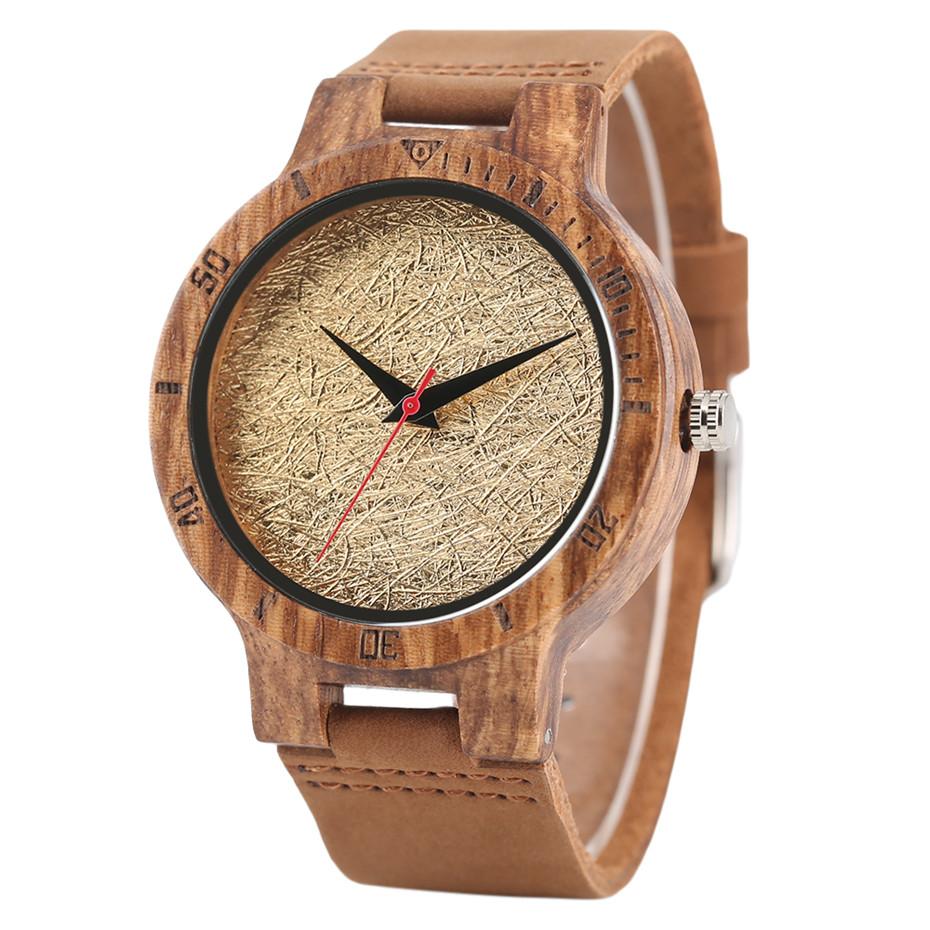 Creative Shiny Weave Bamboo Wood Watch Nature Analog Quartz Cool Men Wristwatch Women Leather Strap Bracelet Handmade Clock Gift Fashion (2)