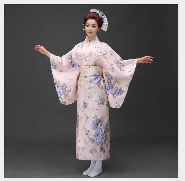 New Arrival Japanese Women Original Yukata Dress Traditional Kimono With  Obi Performance Dance Costumes One Size 358f182292f0