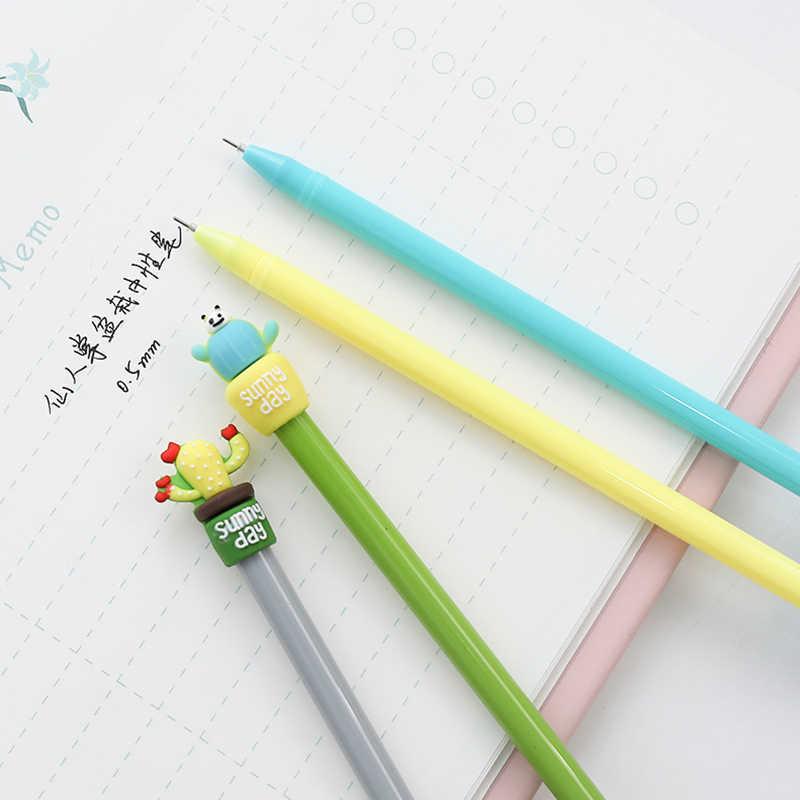 حار kawaii الصبار وعاء هلام أقلام طالب حبر قلم للرجال مدرسة اللوازم المكتبية تعلم القرطاسية بالجملة