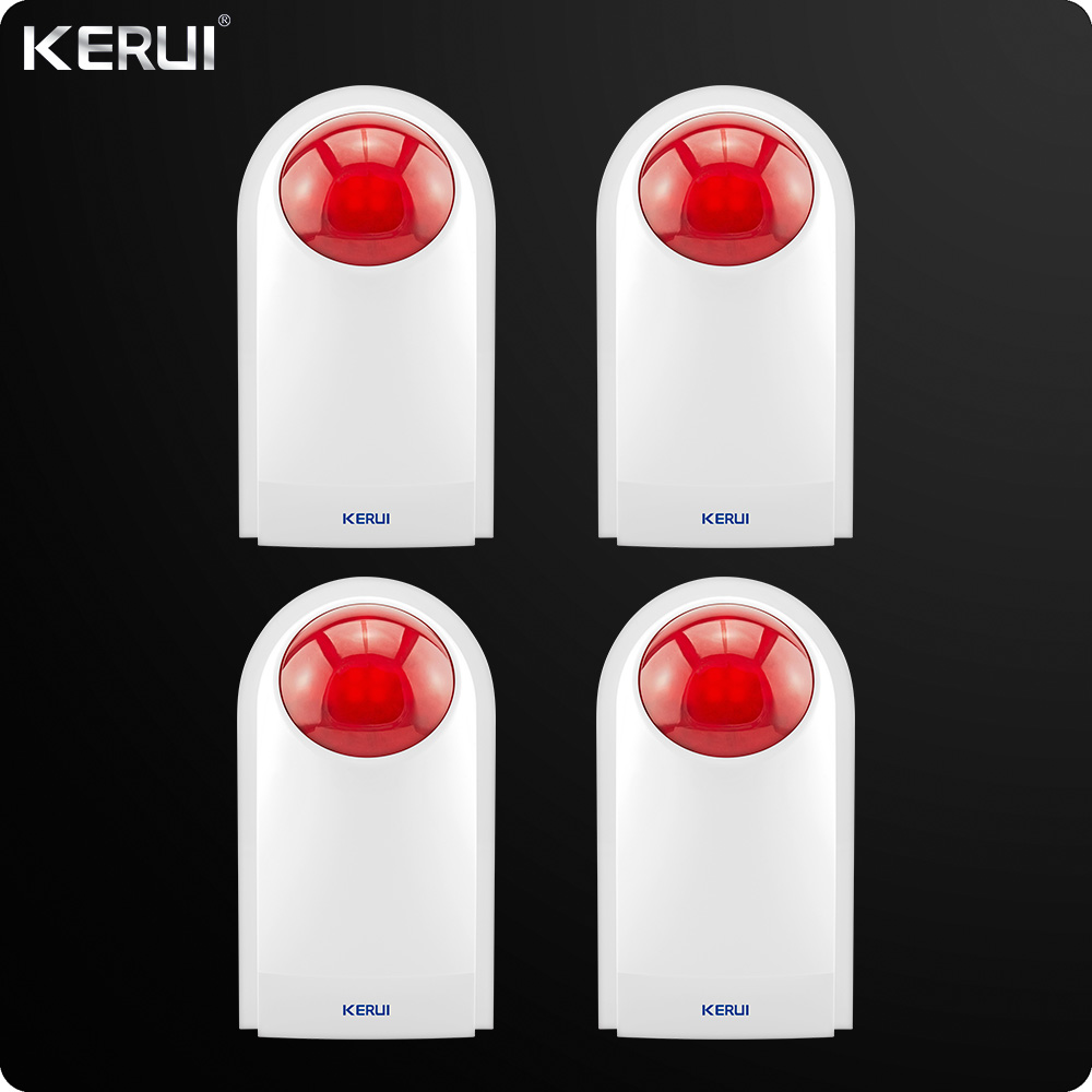 4pcs Kerui Wireless External Outdoor Waterproof Flash Siren Sound Strobe Flash Alarm Siren For Home Alarm System