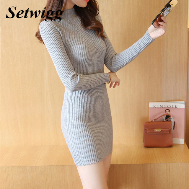 SETWIGG Spring Sleeve Knitted Bodycon Short Dress Stand Collar Rib Knit Slim One-piece Pull-over Mini Autumn Sweater Dress