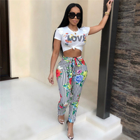 2018 New Arrival Summer Two Piece Set Women Fashion LVOE Print Elegant O Neck Lace Up