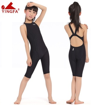 c49a324ac004e Yingfa FINA Approval Professional swimming women knee Swimsuit Sports  Competition Tight full body Bathing Suit. Children's One-Piece Suits