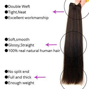 "Image 2 - Human Hair Weaves Straight Machine Remy Hair Bundle Platinum Blonde Real Natural Hair Black Sew In Weft 100g 12"" 16"" 20"" 24"""