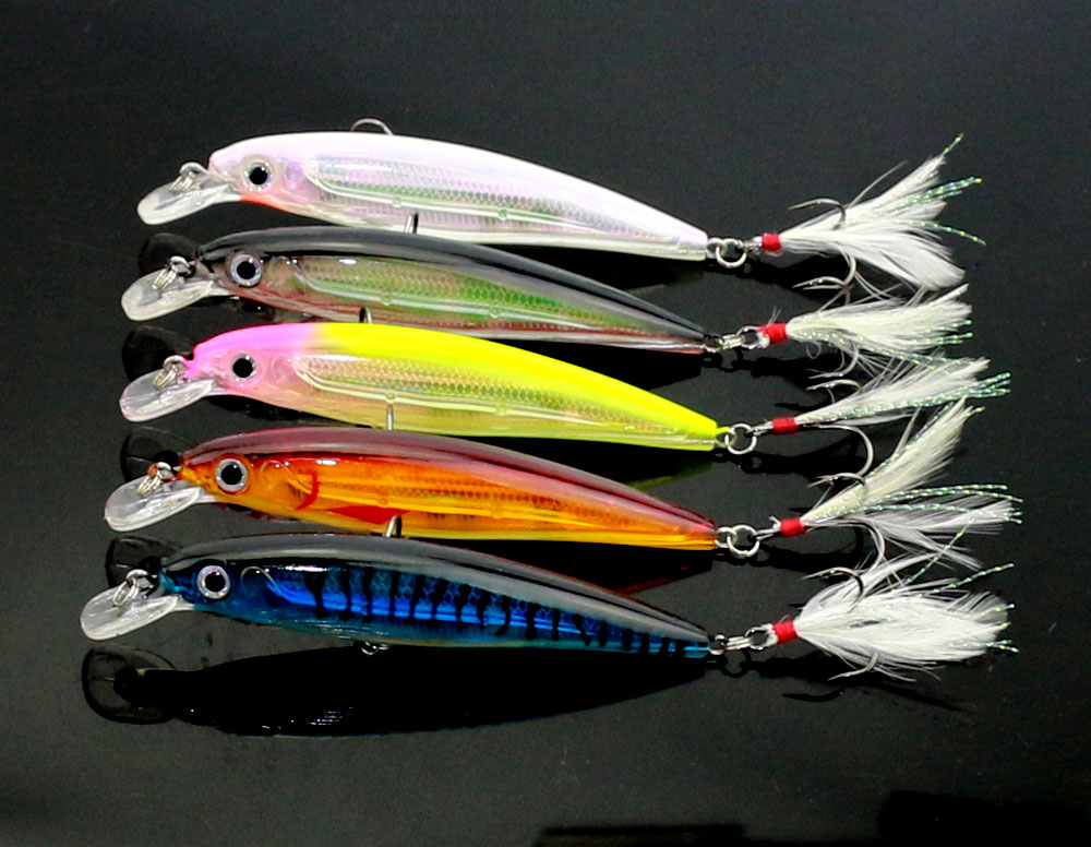 10 ks Nové rybářské návnady Minnow Umělé rybářské návnady 5 barev 11cm-14g Tvrdá návnada Bass Woblery Pesca Rybářské háčky (MI090)