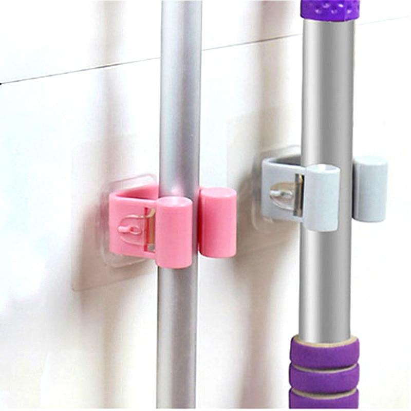 Bathroom No Trace Mop Organizer Holder Umbrella Broom Storage Hanger Rack Kitchen Storage Organization Housekeeper Shelf Wall