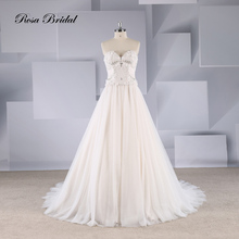 Rosabridal A- line wedding dresses 2019 new Two pieces heavy crystal beading lace appliques strapless with crystal and flower