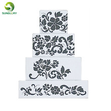 Ferramentas Bolo 4PCS Flowers Fondant Decorating Cake Stencil Kitchen Cupcake Decoration Template Mold Baking Tools For Cakes