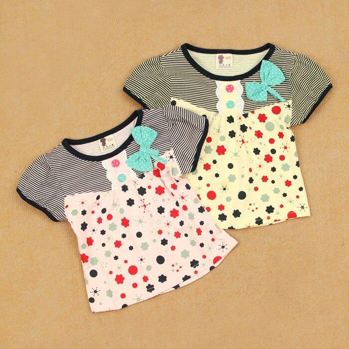Short in size summer female child 100% short-sleeve cotton round neck shirt T-shirt horizontal stripe princess top