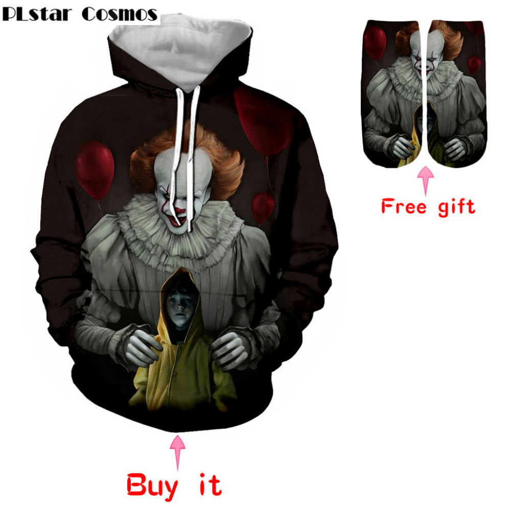 Hoodies & Sweatshirts Movie It Hoodie Pennywise Clown Stephen King 1990 Demented Clowns Shtick Horror Movie Hoodie Sweatshirt Cosplay Tracksuit Xxs
