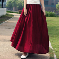 10 Solid Color New Long Skirts Womens 2016 Bohemian Casual Elastic Waist Linen Plus Size Circle