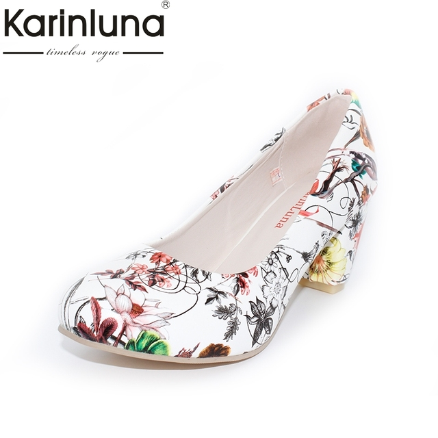 hot sale new arrivals Fashion Flowers Printing Woman Shoes Women Big Size 34-43 Round Toe square high Heels Party Pumps Wedding