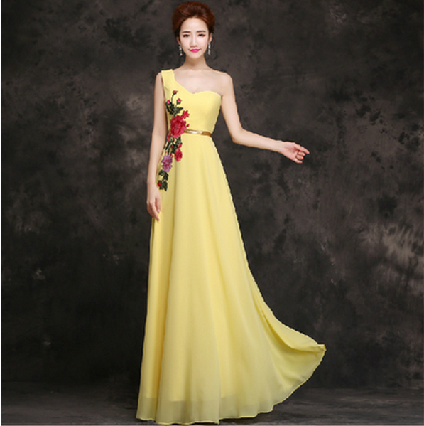 Long Plus Size Latest Evening Gown Yellow Dress 2017 New Arrival