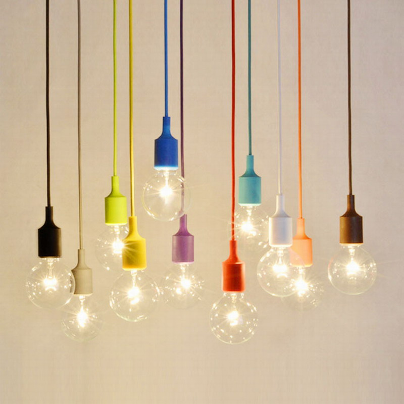 13 Colorful DIY Silicone rope single head pendant lights modern brief decoration cord E27 lamp AC 110V 220V bedroom living room modern simple diy pendant lamp living room dinning room pendant light home decoration lighting ac 110v 220v e27