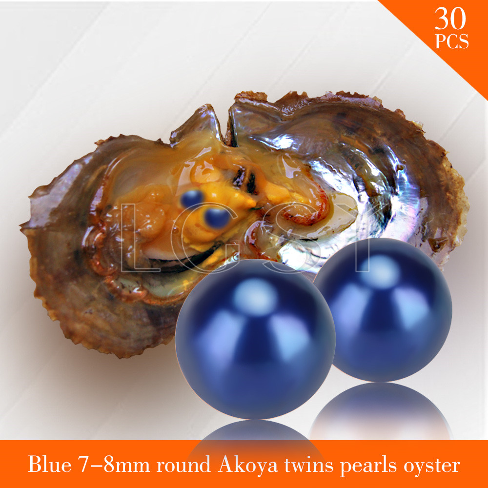 FREE SHIPPING Bead blue 7-8mm round Akoya twin pearls in oysters with vacuum package for women jewelry making 30pcs akoya oyster