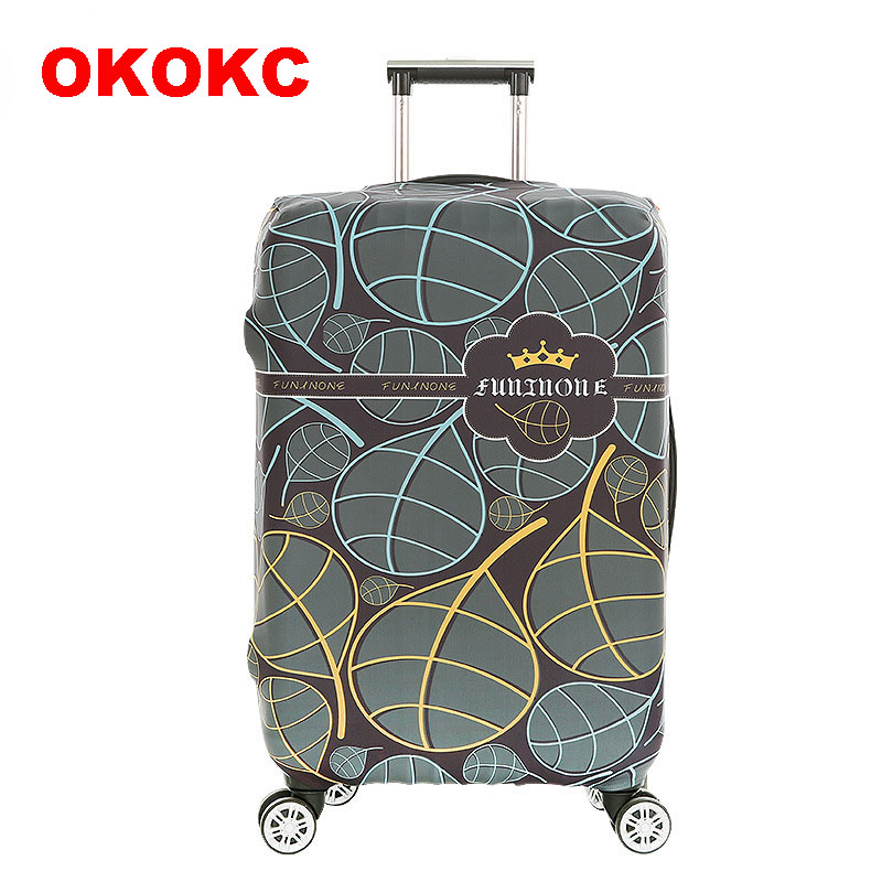 OKOKC Retro Leaves Fish Elastic Luggage Dust Cover Travel Accessories On Road Protective Thickest Suitcase Cover For 18-32inch