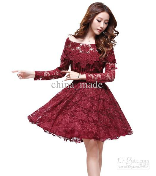 4497 Dress Hot Sale Lace Dress For Women Fashion Casual Lady Long Sleeved Princess Slim Fiber Quality Dance Party Dress Free Shipping En Vestidos