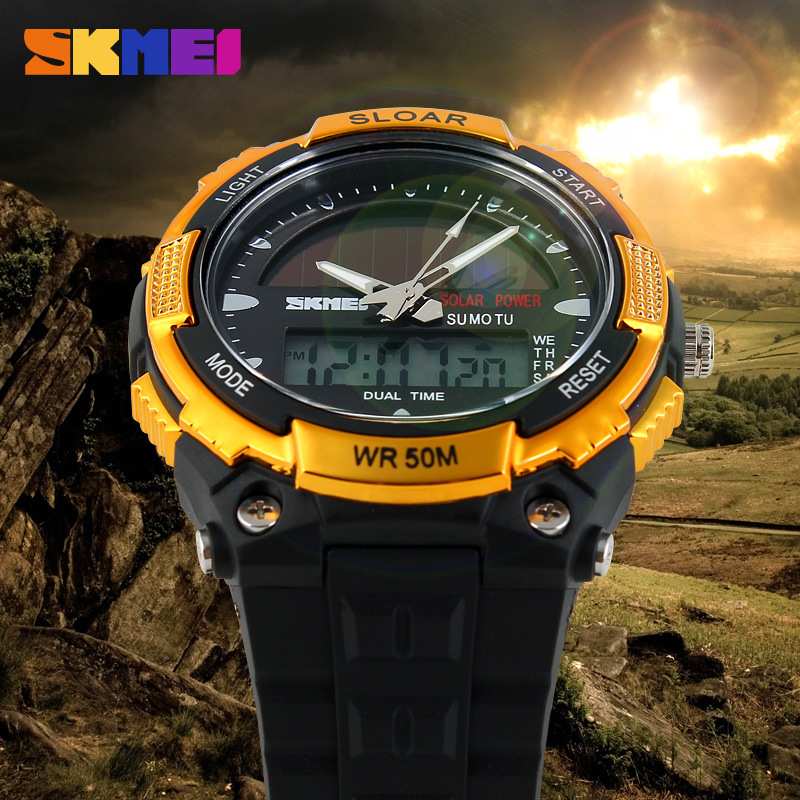 SKMEI SOLAR POWER Men Sports Watches LED Digital Quartz Watch 5ATM Waterproof Outdoor Dress Solar Watches Military Watch Solar