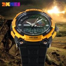 SKMEI güneş enerjisi erkekler spor saatler LED dijital quartz saat 5ATM su geçirmez açık elbise güneş saatler askeri izle güneş