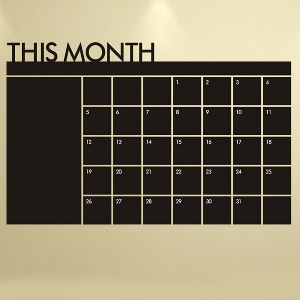 64 100cm Monthly Plan Calendar Chalkboard Wall Sticker