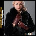 Comercio exterior orden Original / Global mostradores de la marca ventas calientes! Women 's 100% guantes de piel de oveja, la señora del cuero genuino guantes calientes