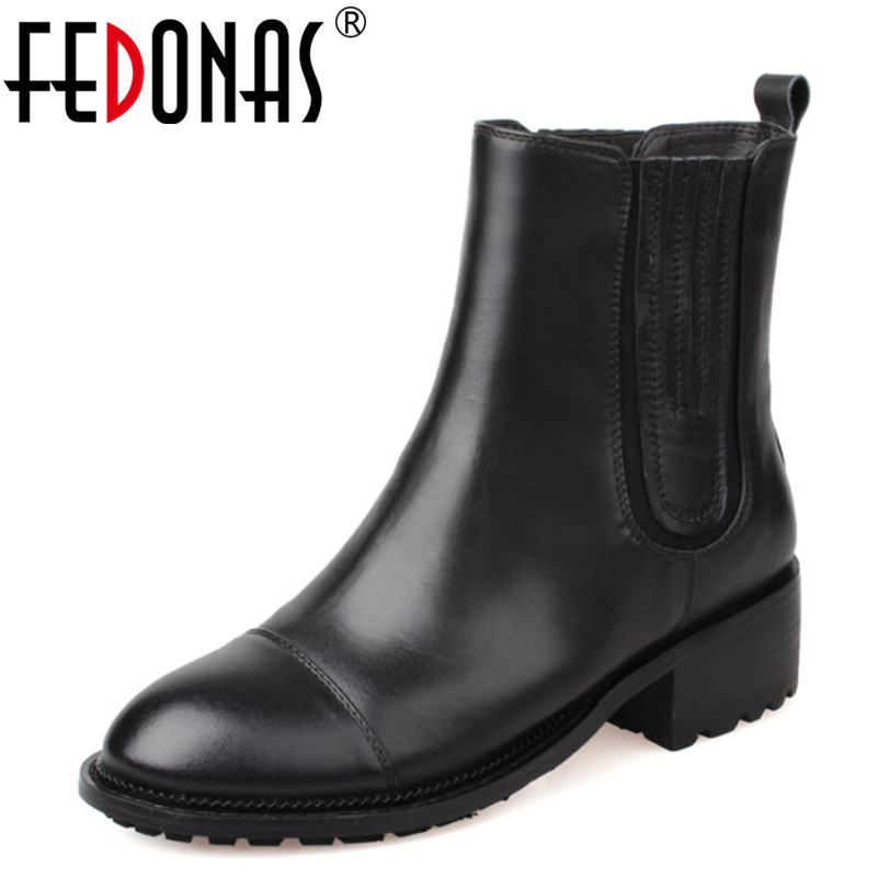 FEDONAS 2017 Brand Women Boots Female Autumn Winter Shoes Woman Warm Motorcycle Boots Fashion Genuine Leather Ankle Boots Women fedonas top quality winter ankle boots women platform high heels genuine leather shoes woman warm plush snow motorcycle boots