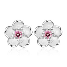 Promotion 30% silver plated cute peach blossom flower crystal ladies`stud earrings jewelry Anti allergy drop shipping female