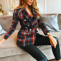 Red Plaid Blazer 2019 Women Spring Autumn Vintage Tweed Suits Jackets Office Ladies Chic Slim Blazers Girls Tassel Tops Set Coat